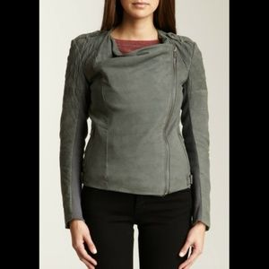 MUUBAA ALBANY QUILTED LEATHER BIKER JACKET GREY 8